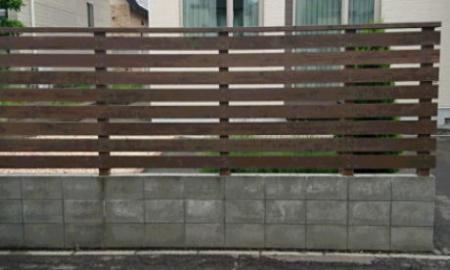 ブロック上フェンス施工