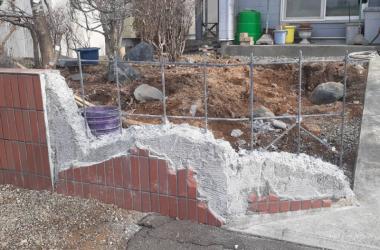 タイル塀解体